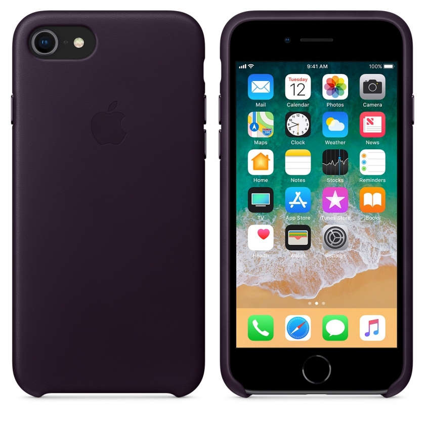 iPhone 8 / 7 Leather Case - Dark Aubergine