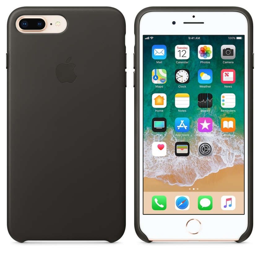 iPhone 8 Plus / 7 Plus Leather Case - Charcoal Gray