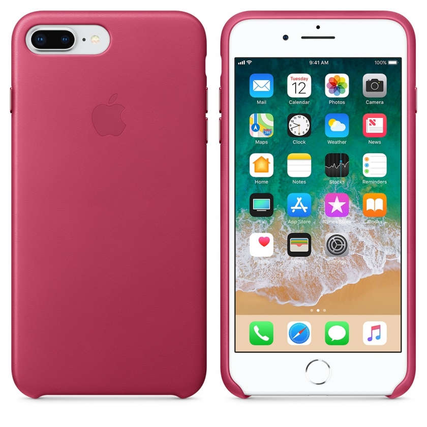 iPhone 8 Plus / 7 Plus Leather Case - Pink Fuchsia