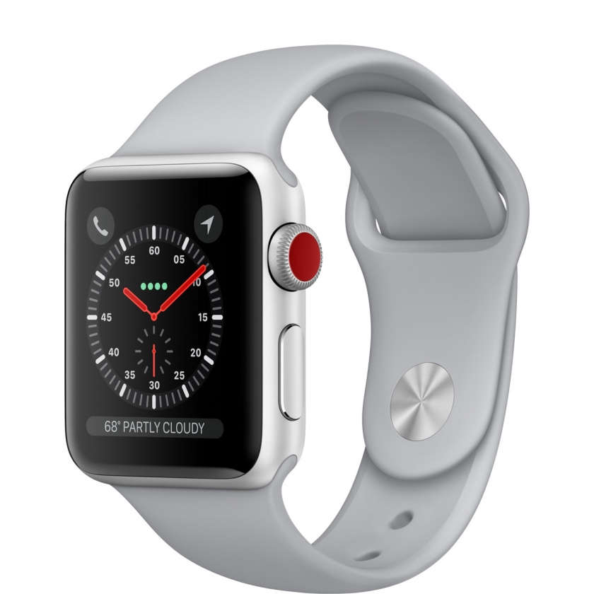 Apple Watch Series 3 GPS + Cellular 38mm Silver Aluminum Case with Fog Sport Band