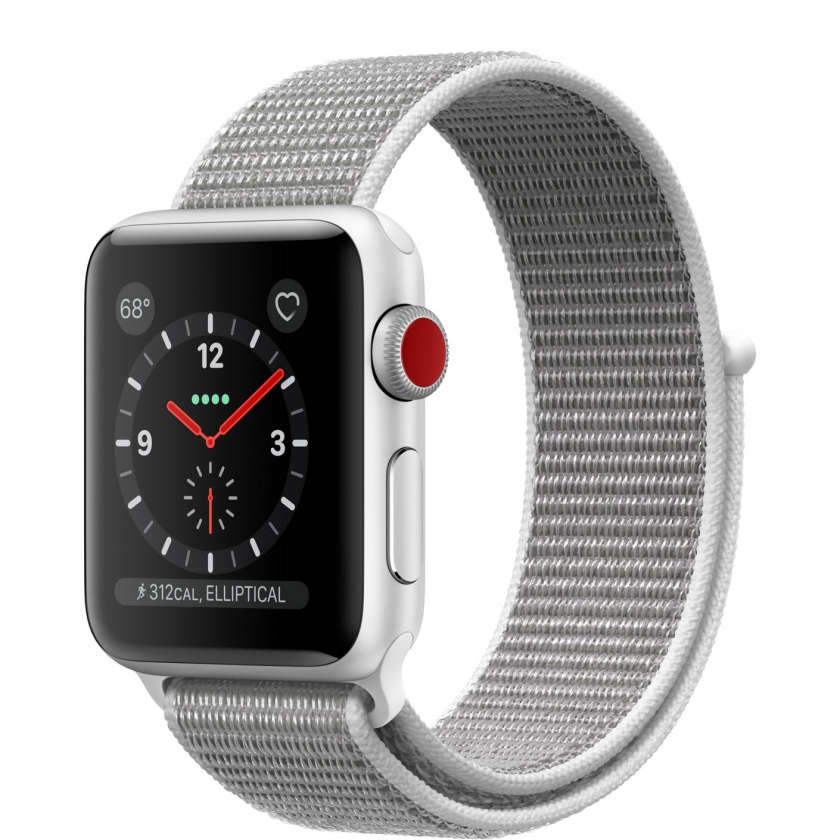 Apple Watch Series 3 GPS + Cellular 38mm Silver Aluminum Case with Seashell Sport Loop