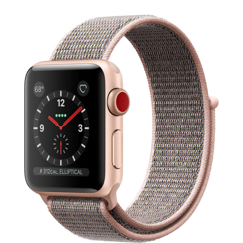 Apple Watch Series 3 GPS + Cellular 38mm Gold Aluminum Case with Pink Sand Sport Loop