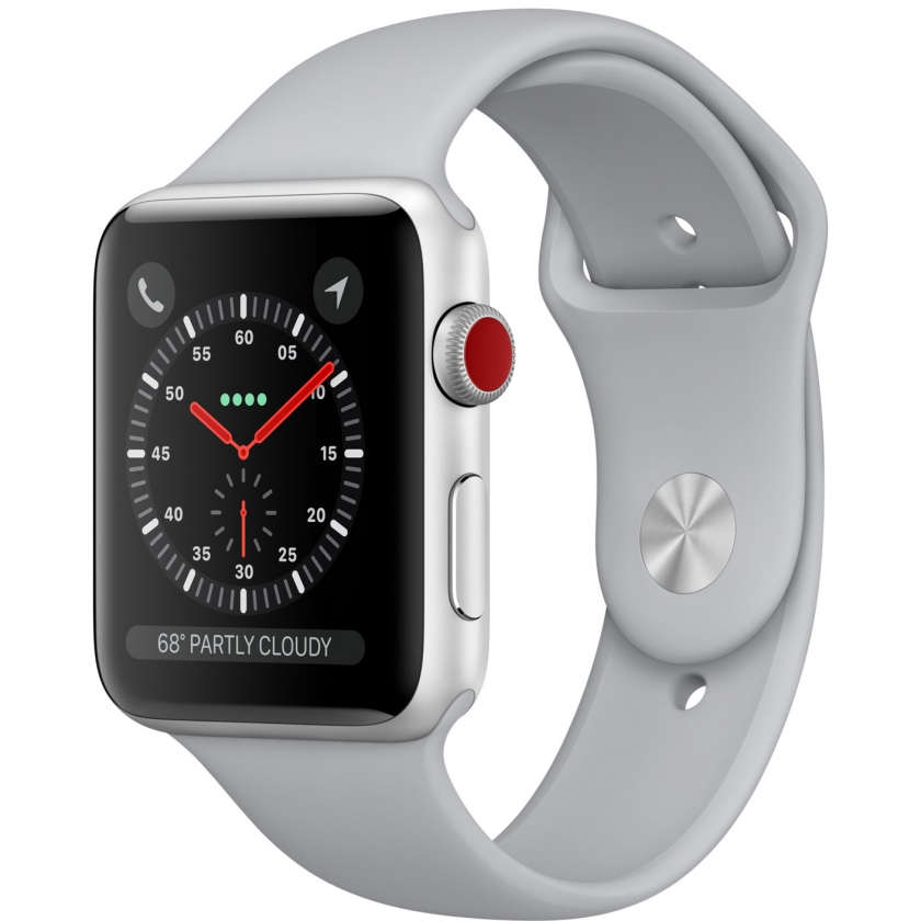 Apple Watch Series 3 GPS + Cellular 42mm Silver Aluminum Case with Fog Sport Band