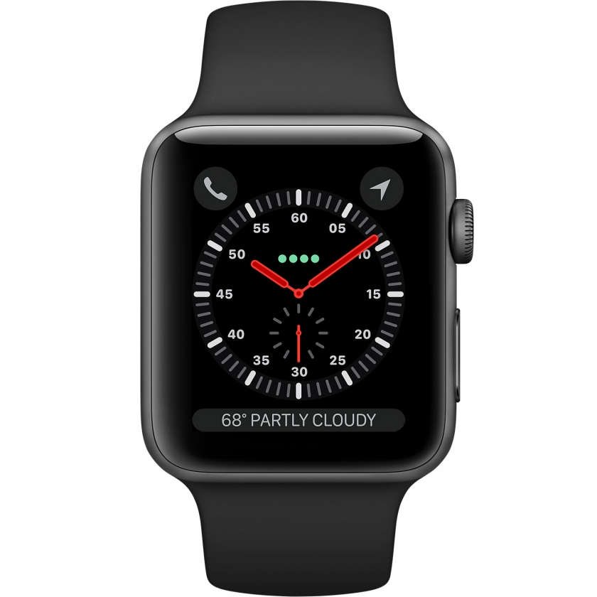 Apple Watch Series 3 GPS + Cellular 42mm Space Gray Aluminum Case with Black Sport Band