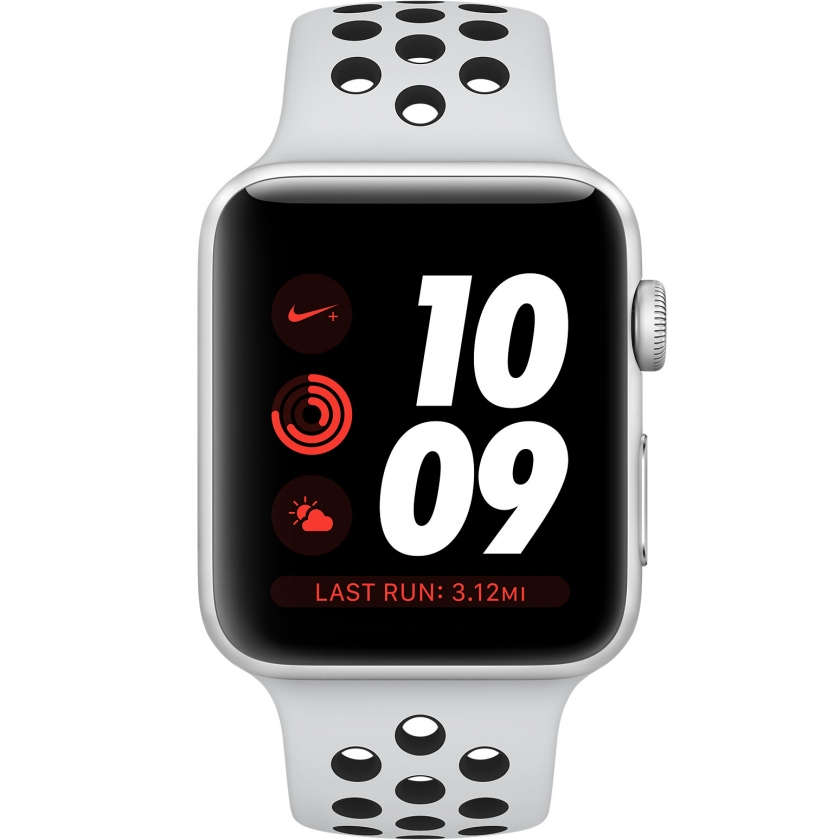 Apple Watch Nike+ Series 3 GPS + Cellular 42mm Silver Aluminum Case with Pure Platinum/Black Nike Sport Band