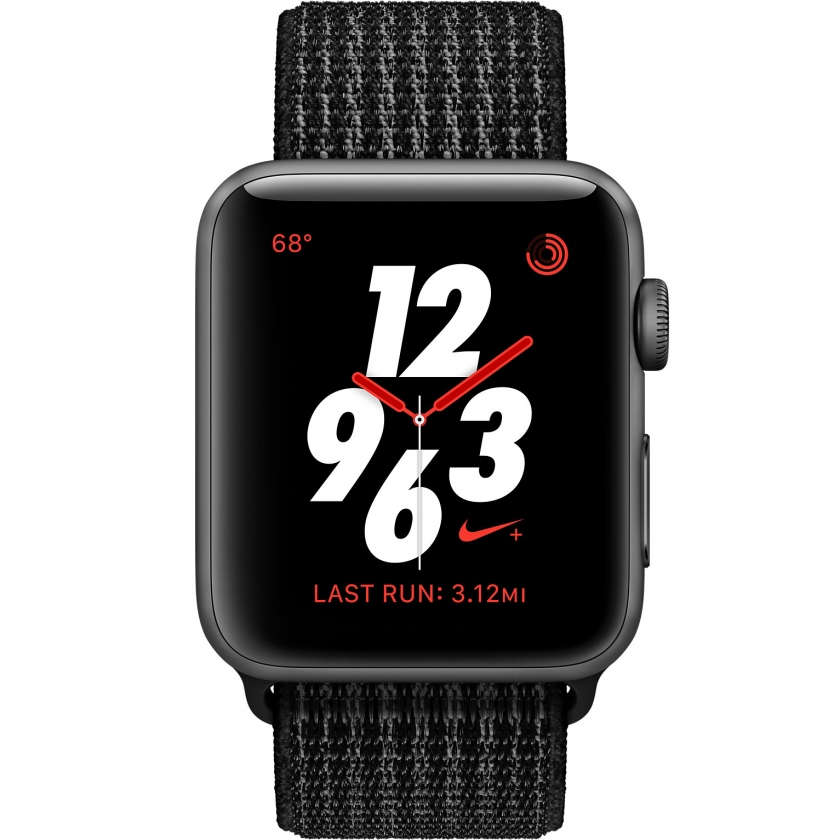 Apple Watch Nike+ Series 3 GPS + Cellular 42mm Space Gray Aluminum Case with Black/Pure Platinum Nike Sport Loop