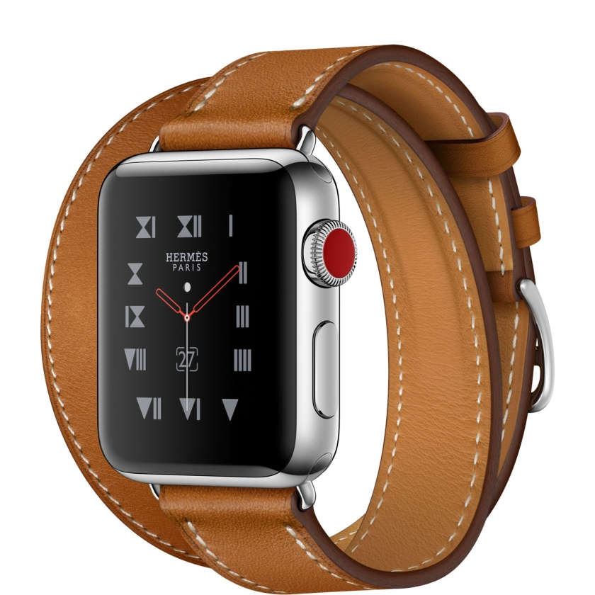 Apple Watch Hermès Series 3 GPS + Cellular 38mm Stainless Steel Case with Fauve Barenia Leather Double Tour
