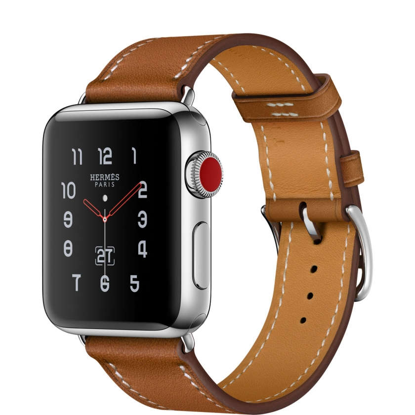 Apple Watch Hermès Series 3 GPS + Cellular 38mm Stainless Steel Case with Fauve Barenia Leather Single Tour