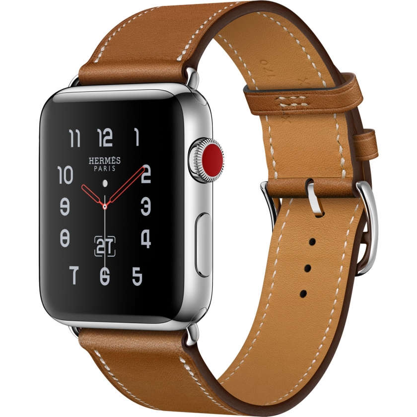 Apple Watch Hermès Series 3 GPS + Cellular 42mm Stainless Steel Case with Fauve Barenia Leather Single Tour