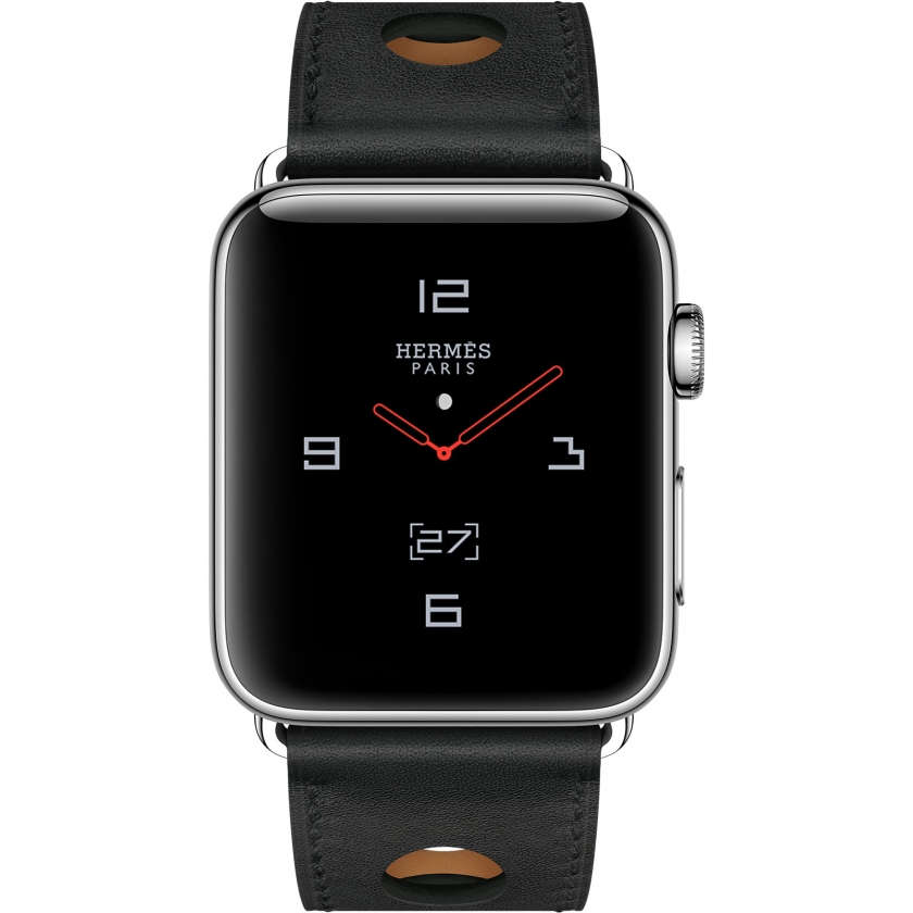 Apple Watch Hermès Series 3 GPS + Cellular 42mm Stainless Steel Case with Noir Gala Leather Single Tour Rallye