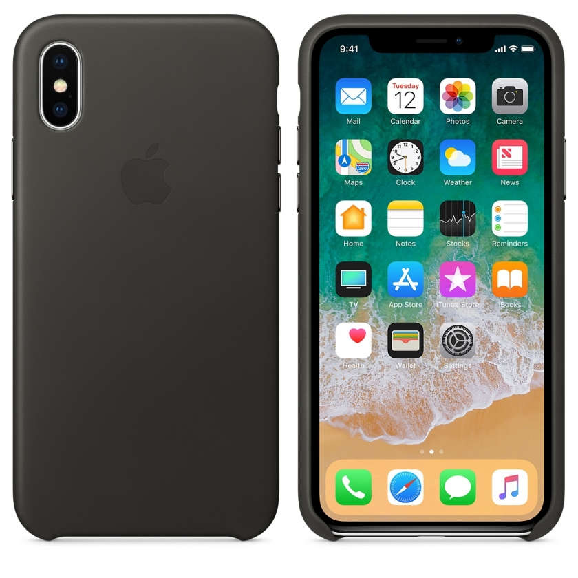 iPhone X Leather Case - Charcoal Gray