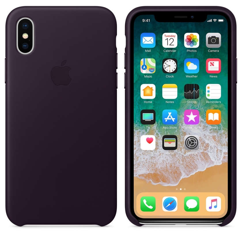 iPhone X Leather Case - Dark Aubergine