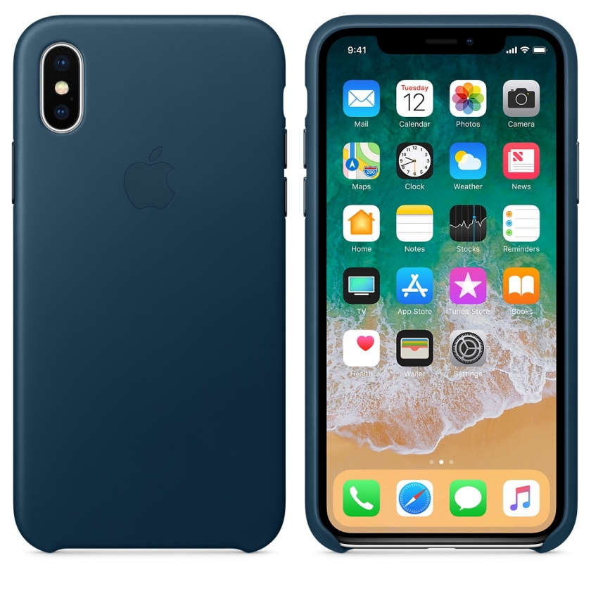 iPhone X Leather Case - Cosmos Blue