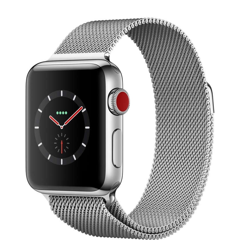 Apple Watch Series 3 GPS + Cellular 38mm Stainless Steel Case with Milanese Loop
