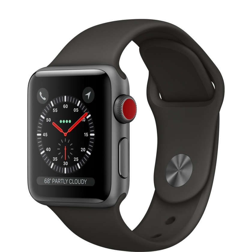 Apple Watch Series 3 GPS + Cellular 38mm Space Gray Aluminum Case with Gray Sport Band