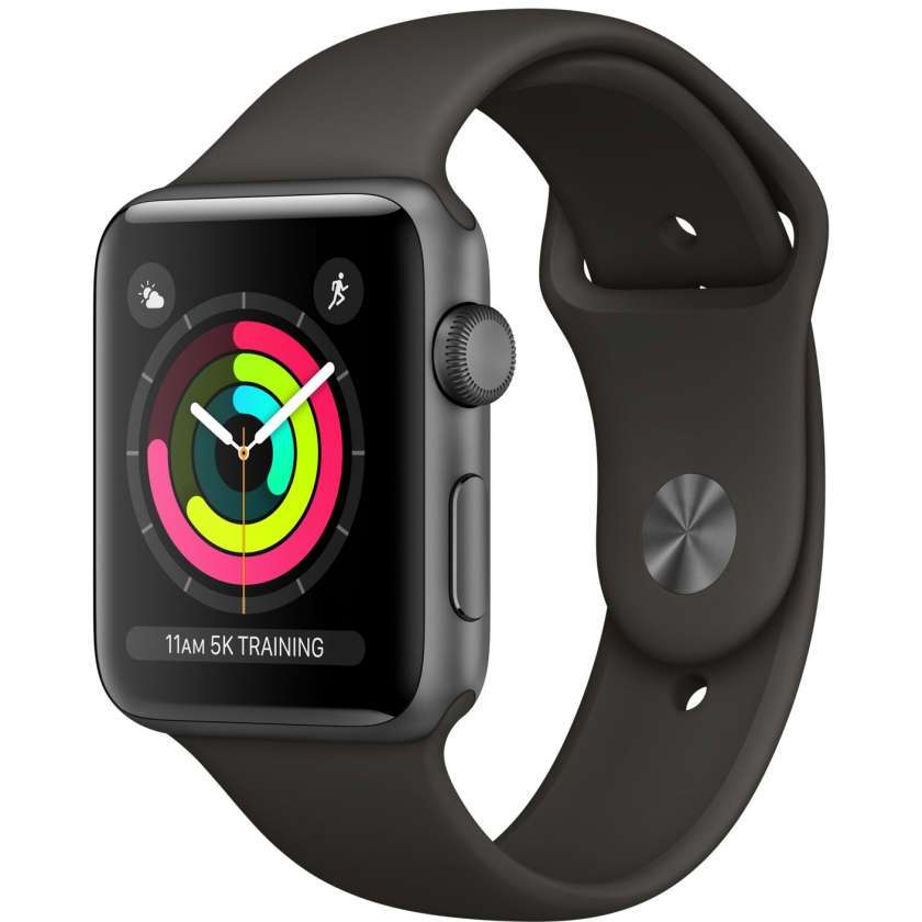 Apple Watch Series 3 GPS 42mm Space Gray Aluminum Case with Gray Sport Band