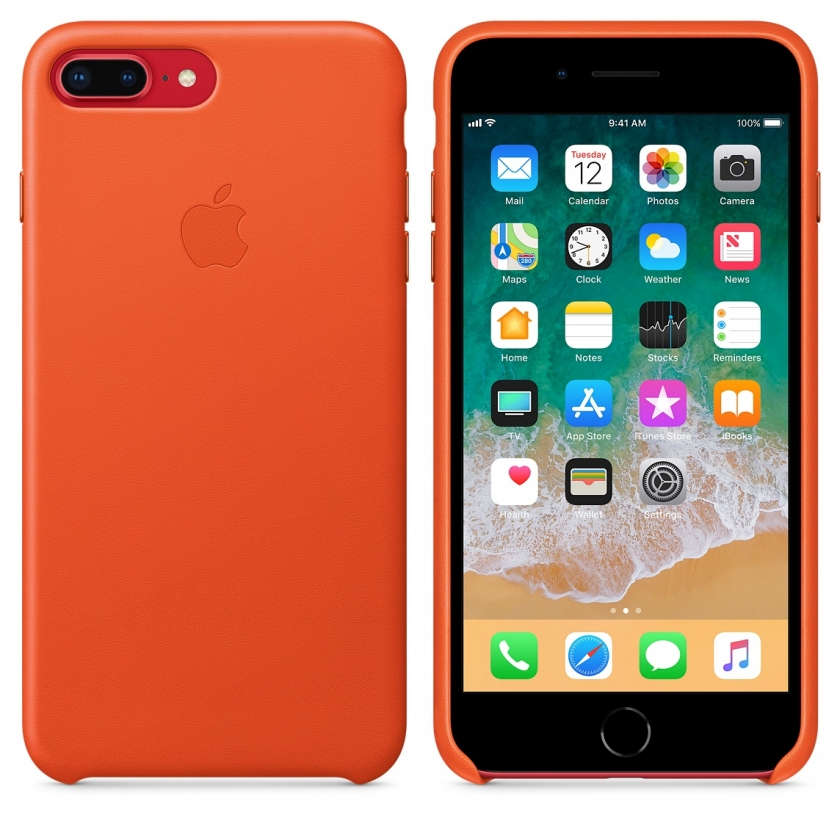 iPhone 8 Plus / 7 Plus Leather Case - Bright Orange