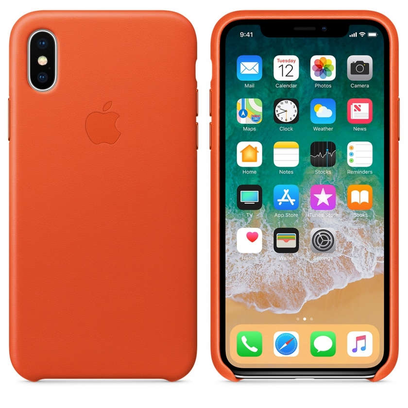 iPhone X Leather Case - Bright Orange