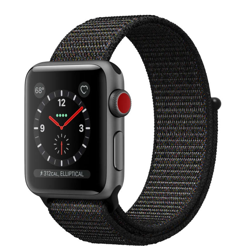 Apple Watch Series 3 GPS + Cellular 38mm Space Gray Aluminum Case with Black Sport Loop