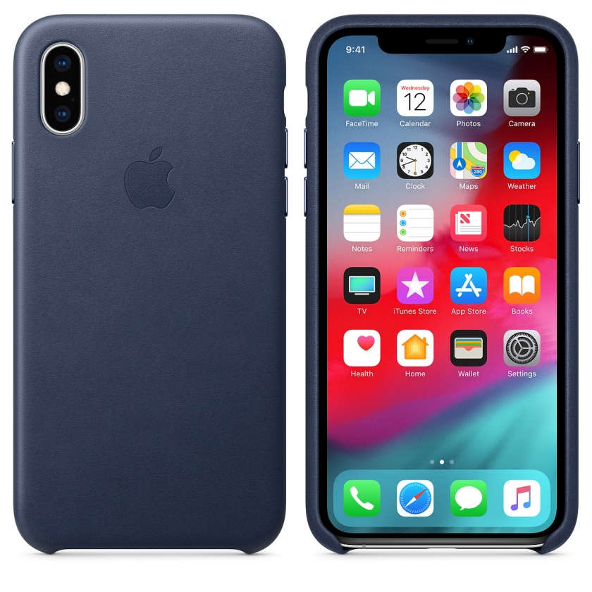 iPhone XS Leather Case - Midnight Blue
