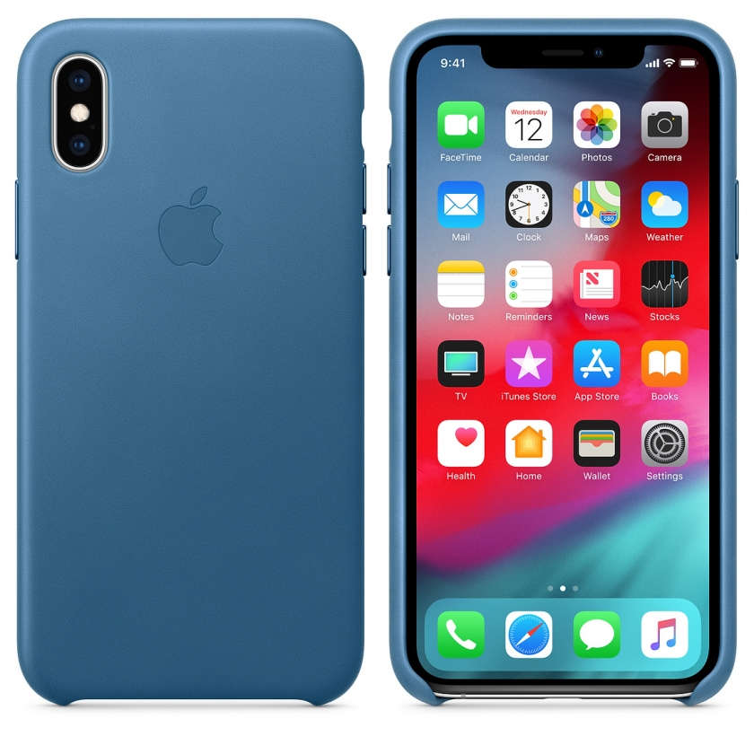 iPhone XS Leather Case - Cape Cod Blue