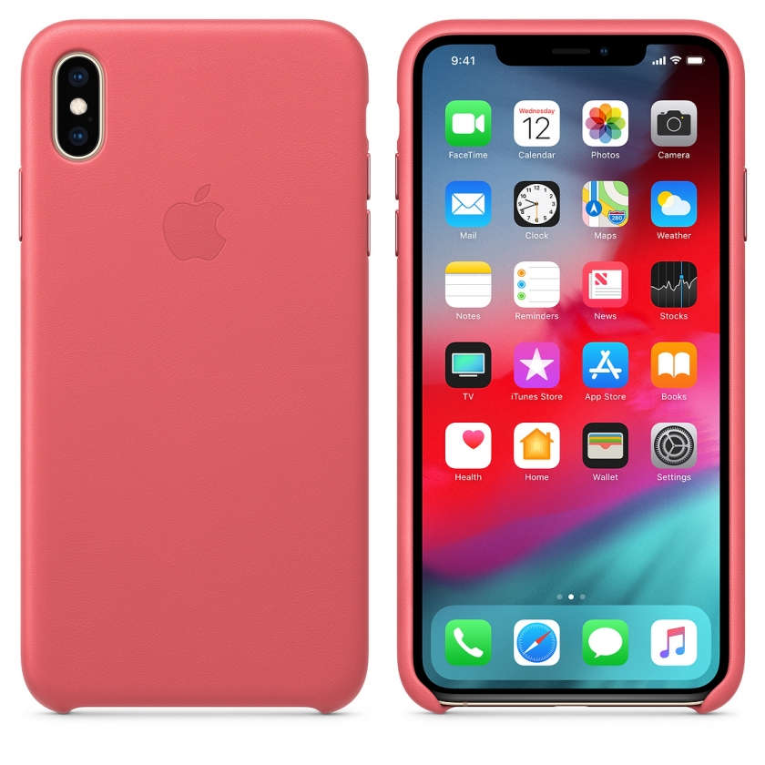 iPhone XS Max Leather Case - Peony Pink