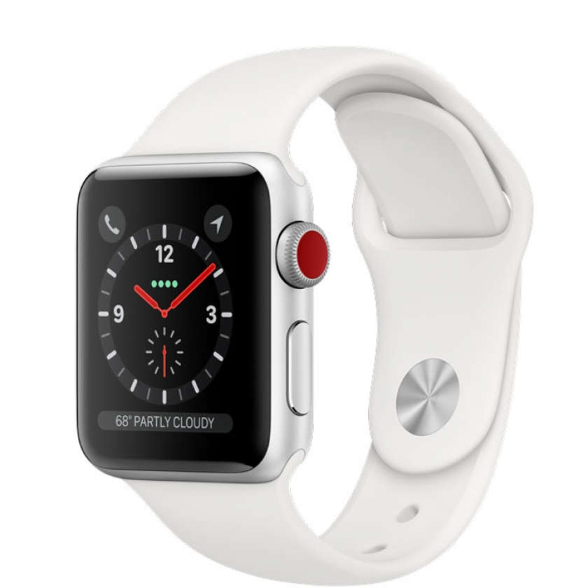 Apple Watch Series 3 GPS + Cellular 38mm Silver Aluminum Case with White Sport Band