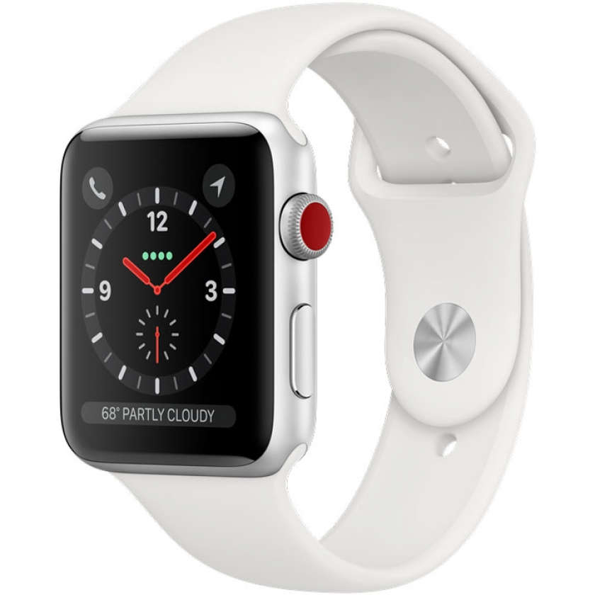 Apple Watch Series 3 GPS + Cellular 42mm Silver Aluminum Case with White Sport Band