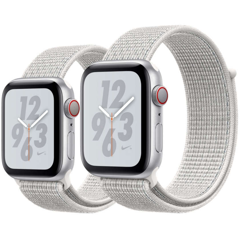 Apple Watch Nike+ Series 4 GPS + Cellular 40mm Silver Aluminum Case with Summit White Nike Sport Loop