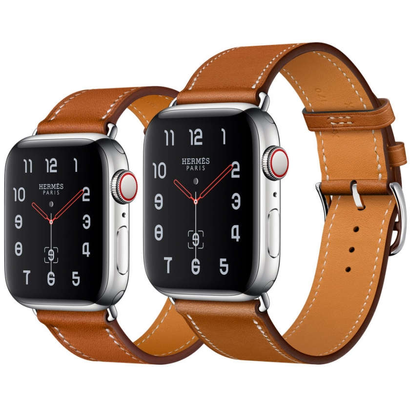 Apple Watch Hermès Series 4 GPS + Cellular 40mm Stainless Steel Case with Fauve Barenia Leather Single Tour