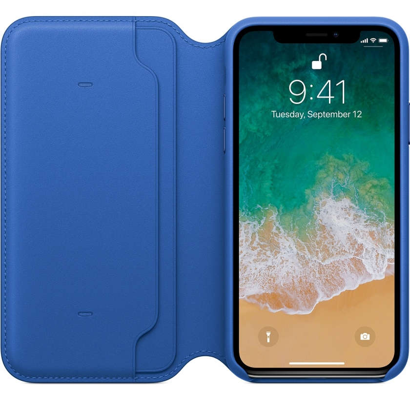 iPhone X Leather Folio - Electric Blue