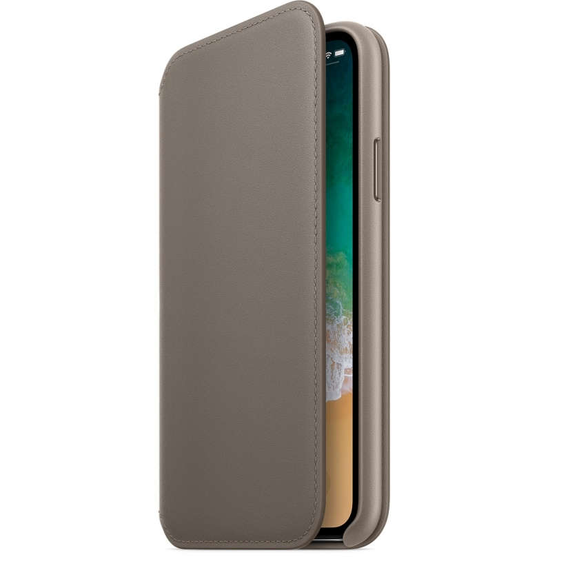 iPhone X Leather Folio - Taupe