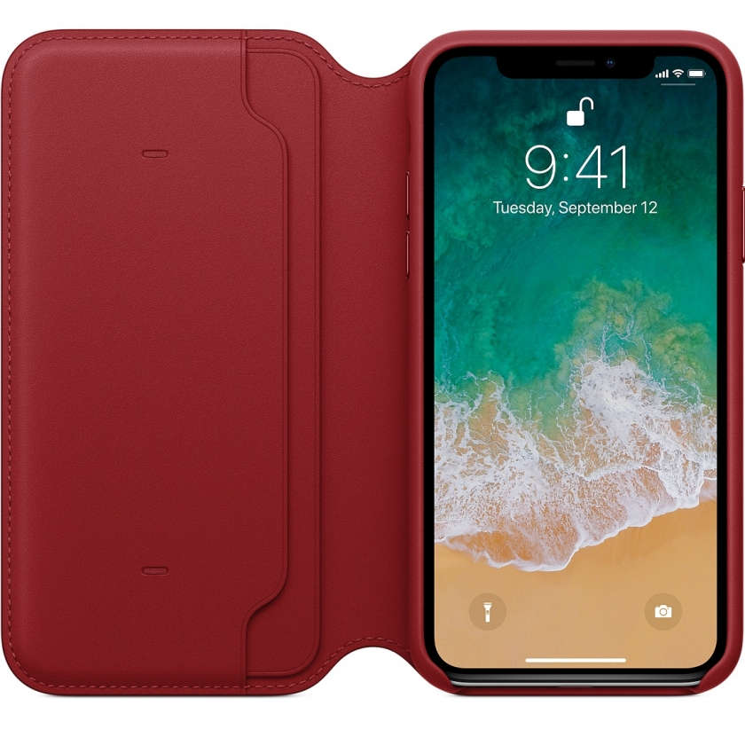 iPhone X Leather Folio - (PRODUCT)RED