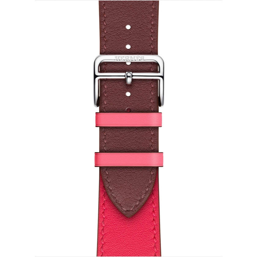 Apple Watch Hermès Series 4 GPS + Cellular 40mm Stainless Steel Case with Bordeaux/Rose Extrême/Rose Azalée Swift Leather Single Tour