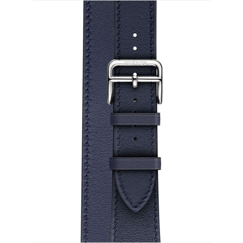Apple Watch Hermès Series 4 GPS + Cellular 40mm Stainless Steel Case with Bleu Indigo Swift Leather Double Tour