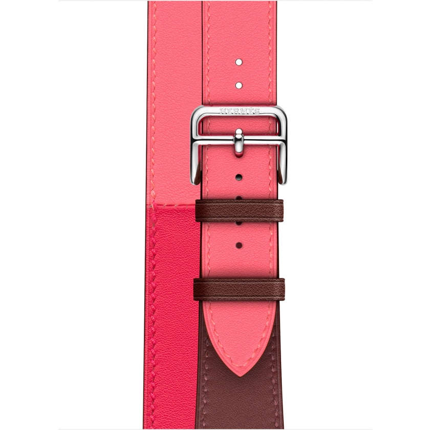 Apple Watch Hermès Series 4 GPS + Cellular 40mm Stainless Steel Case with Bordeaux/Rose Extrême/Rose Azalée Swift Leather Double Tour