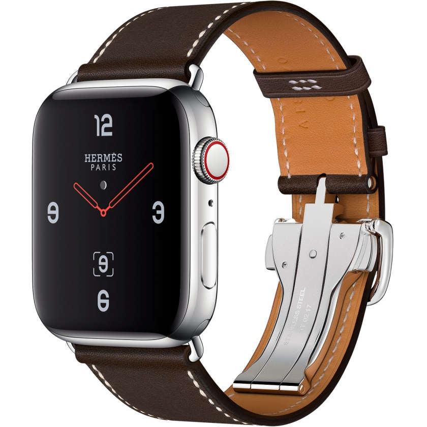 Apple Watch Hermès Series 4 GPS + Cellular 44mm Stainless Steel Case with Ébène Barenia Leather Single Tour Deployment Buckle