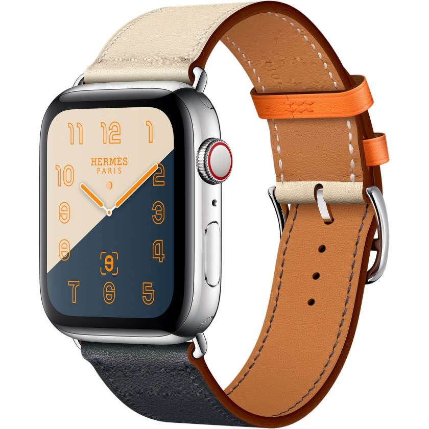 Apple Watch Hermès Series 4 GPS + Cellular 44mm Stainless Steel Case with Indigo/Craie/Orange Swift Leather Single Tour