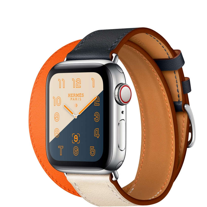 Apple Watch Hermès Series 4 GPS + Cellular 40mm Stainless Steel Case with Indigo/Craie/Orange Swift Leather Double Tour