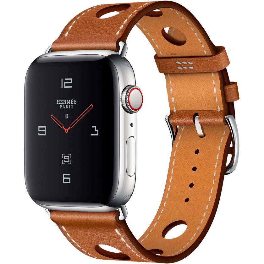 Apple Watch Hermès Series 4 GPS + Cellular 44mm Stainless Steel Case with Fauve Grained Barenia Leather Single Tour Rallye