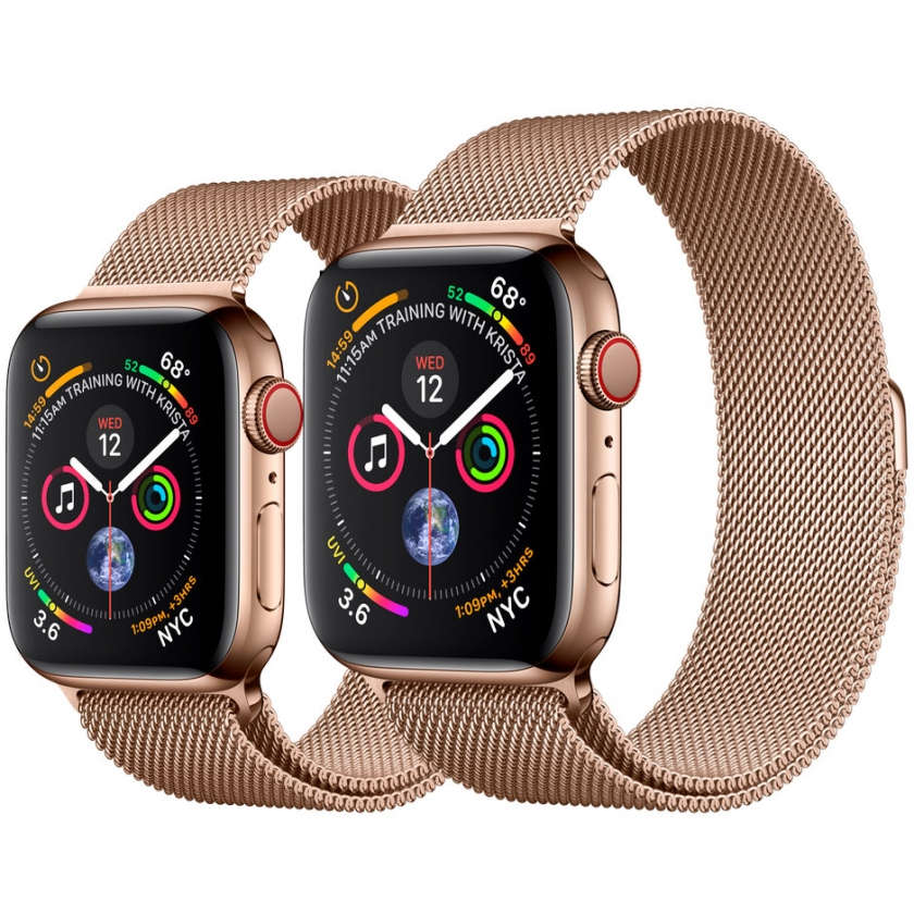 Apple Watch Series 4 GPS + Cellular 44mm Gold Stainless Steel Case with Gold Milanese Loop