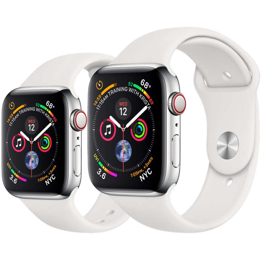 Apple Watch Series 4 GPS + Cellular 40mm Stainless Steel Case with White Sport Band