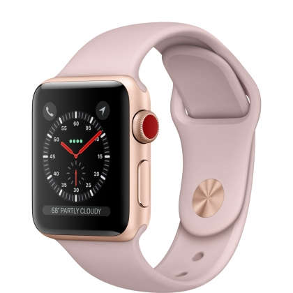 Apple Watch Series 3 GPS + Cellular 38mm Gold Aluminum Case with Pink Sand Sport Band