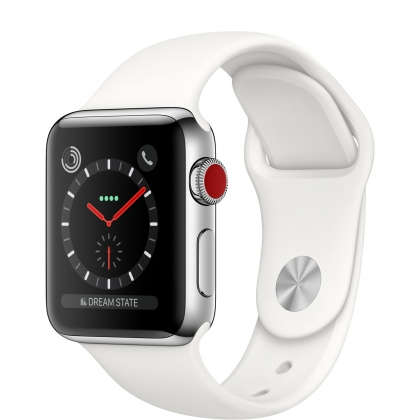 Apple Watch Series 3 GPS + Cellular 38mm Stainless Steel Case with Soft White Sport Band