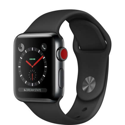 Apple Watch Series 3 GPS + Cellular 38mm Space Black Stainless Steel Case with Black Sport Band