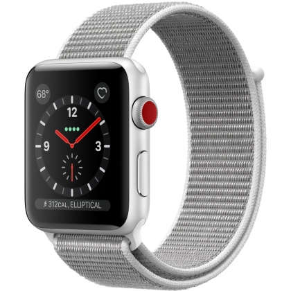 Apple Watch Series 3 GPS + Cellular 42mm Silver Aluminum Case with Seashell Sport Loop
