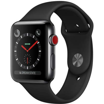 Apple Watch Series 3 GPS + Cellular 42mm Space Black Stainless Steel Case with Black Sport Band