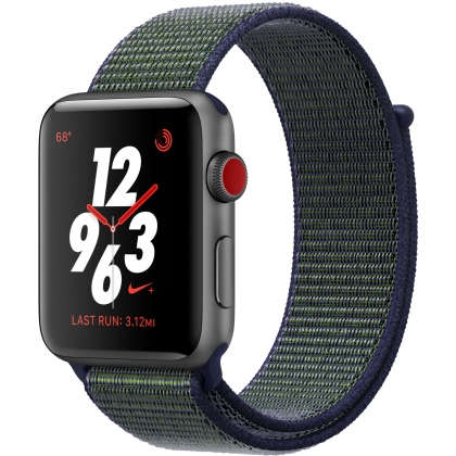 Apple Watch Nike+ Series 3 GPS + Cellular 42mm Space Gray Aluminum Case with Midnight Fog Nike Sport Loop