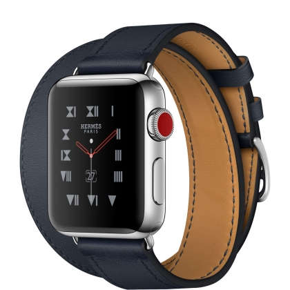 Apple Watch Hermès Series 3 GPS + Cellular 38mm Stainless Steel Case with Indigo Swift Leather Double Tour