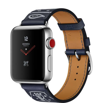 Apple Watch Hermès Series 3 GPS + Cellular 38mm Stainless Steel Case with Marine Gala Leather Single Tour Eperon d'Or